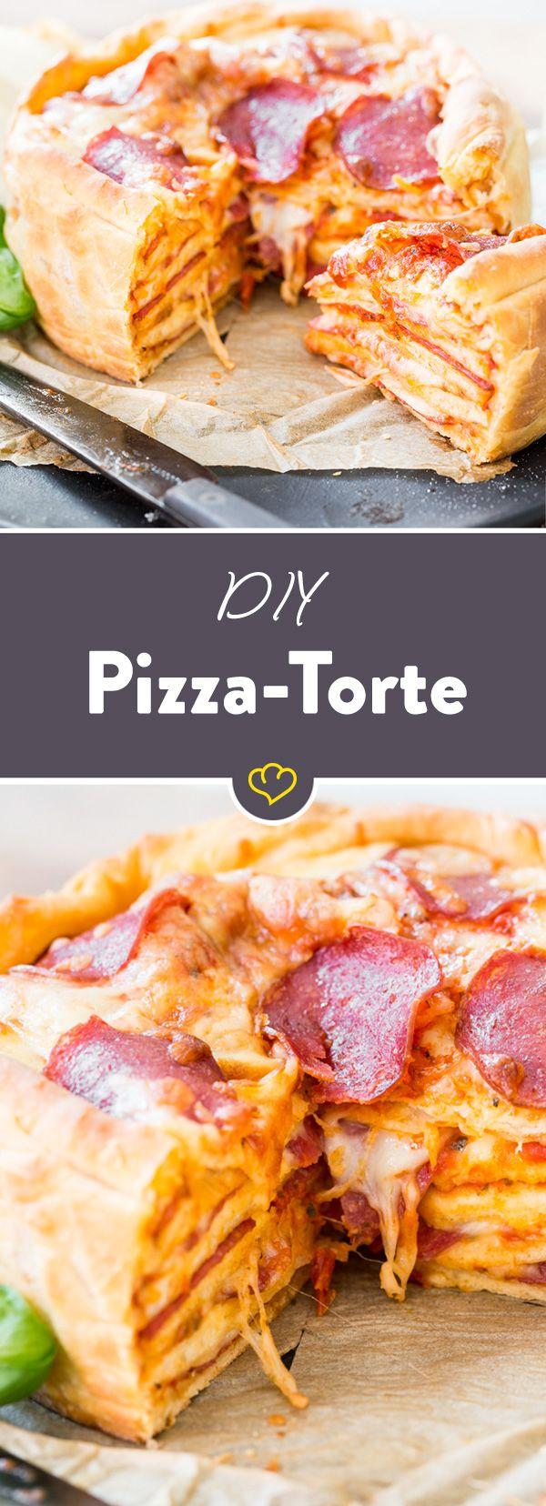 Leckerer Hochstapler: So backst du saftigen Pizza Cake #fooddiy