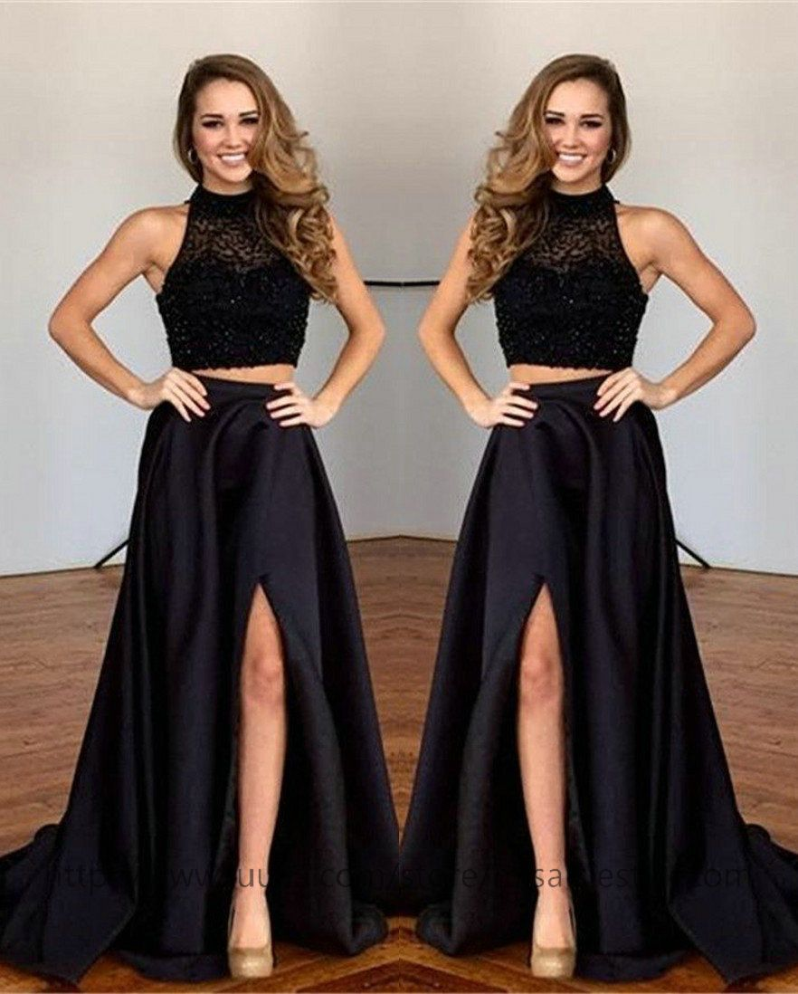 Black two pieces prom dressesslit sexy black party and prom dresses