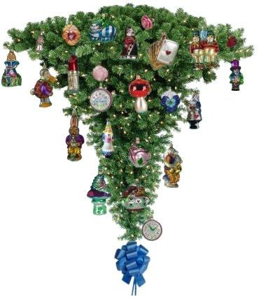 alice in wonderland christmas tree - topsy turvy...not sure how you'd do this, but I love it!