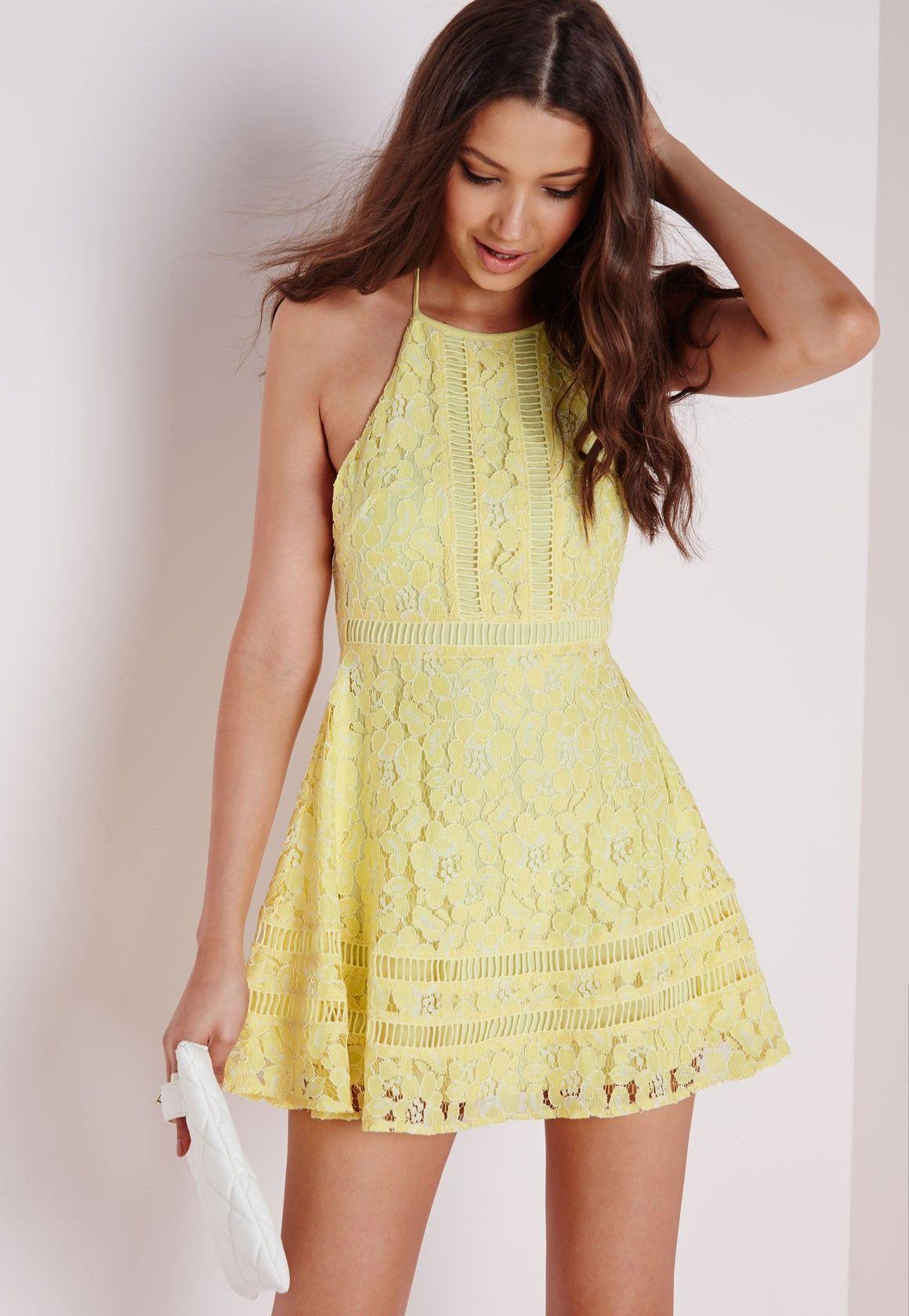 Lace Cross Back Ladder Skater Dress Lemon - Dresses - Skater Dresses -  Missguided a74a6a87d
