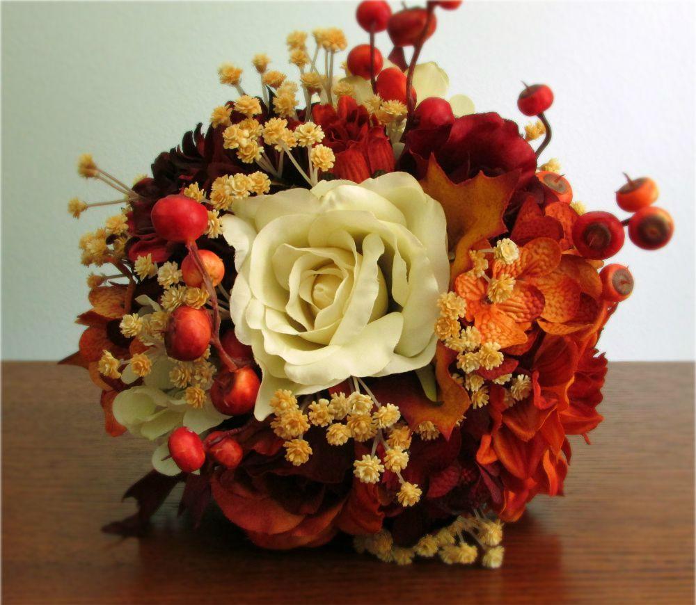 Autumn silk flower wedding bouquets in ivory burnt orange and autumn silk flower wedding bouquets in ivory burnt orange and burgundy with roses mightylinksfo Gallery