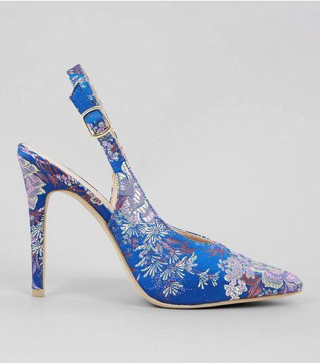 911168f6d41 Blue Floral Brocade Slingback Heels