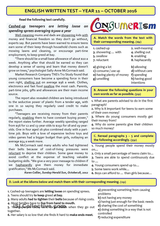 Worksheets 11th Grade Vocabulary Worksheets teen spending 11th grade test on consumerism efl teaching consumerism