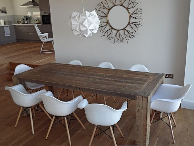 Reclaimed Wood Grand Dining Table Natural Rustic Dining Room