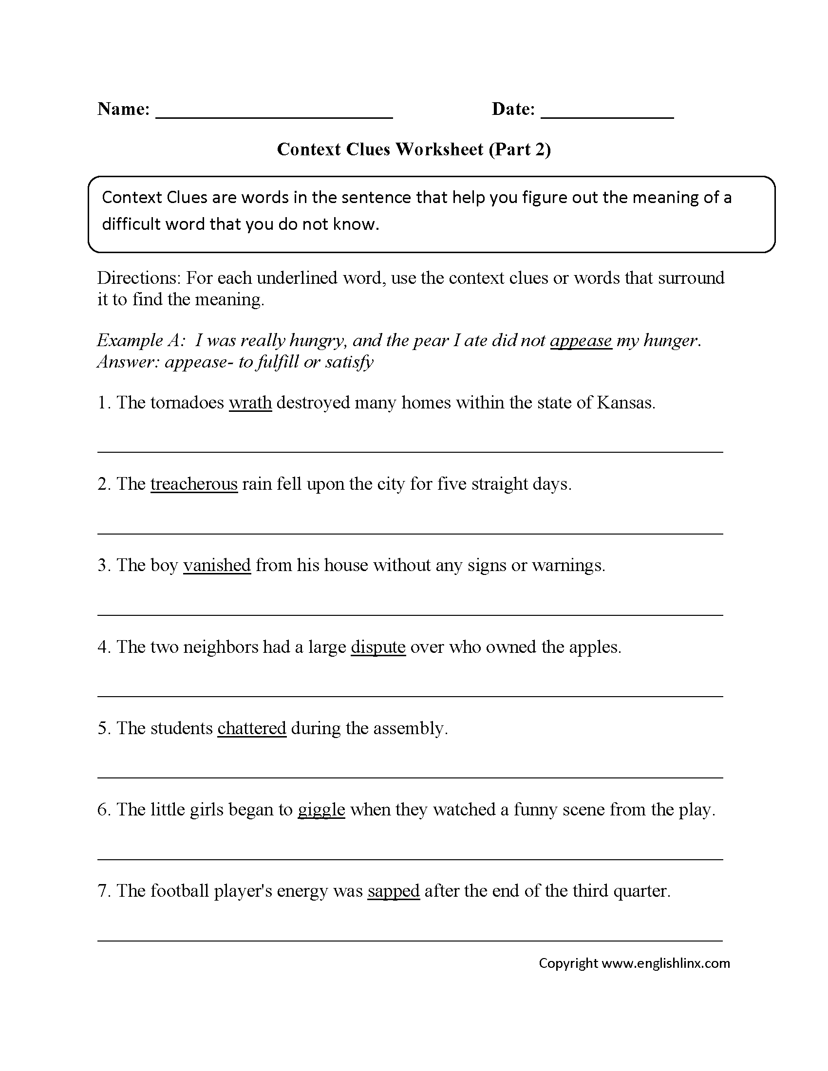 Worksheets Context Clues Worksheets context clues worksheet writing part 2 intermediate devin intermediate