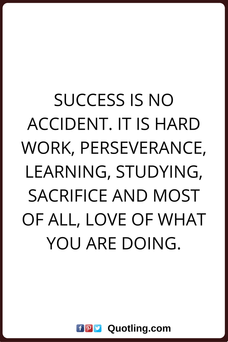 Inspirational Quotes Success Is No Accident It Is Hard Work