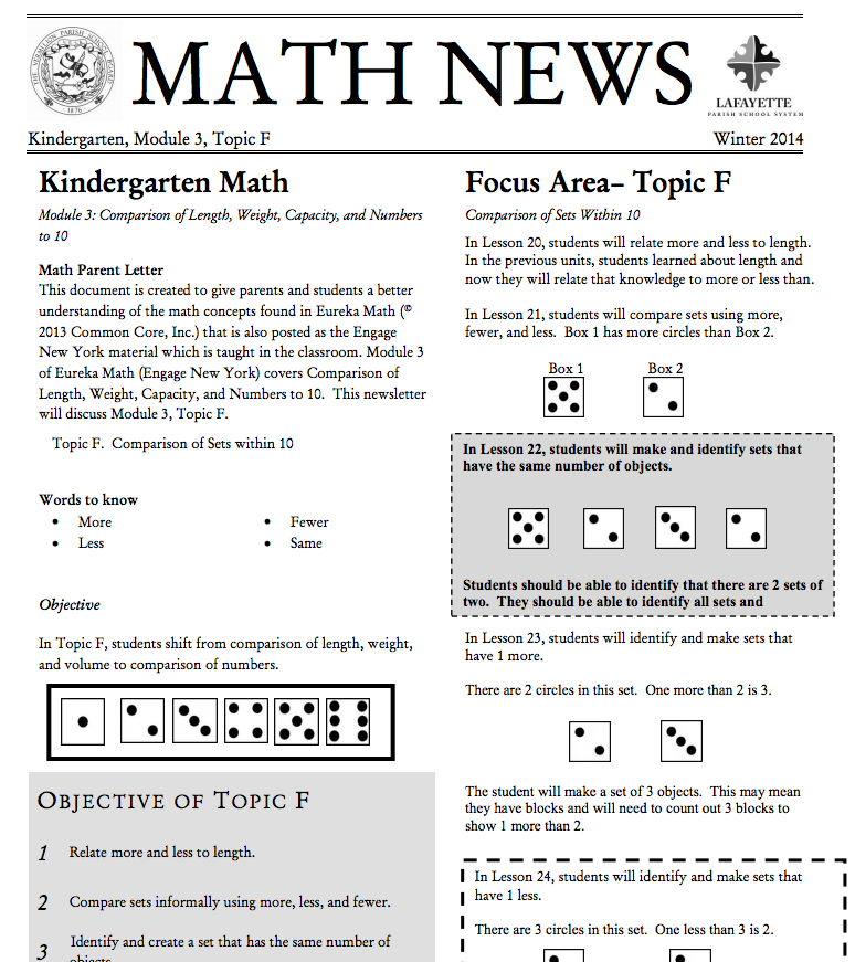 Kindergarten, Module 3, Topic F parent newsletter developed by ...