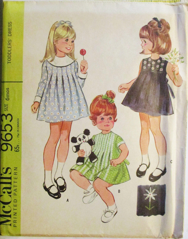 S vintage sewing pattern mccalls toddlers dress pattern