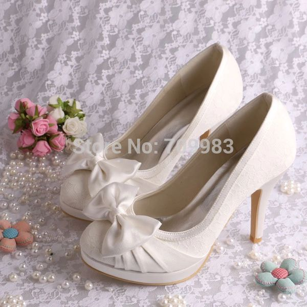 FREE SHIPPING Custom Made Elegant Color Shoes Ivory Wedding Dress With Lace High Heel Size