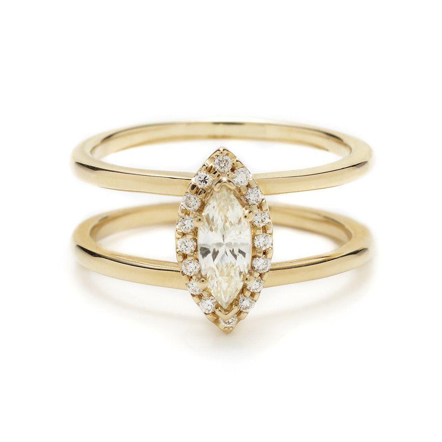 Attelage Marquis Diamond Ring Engagement Uniquemitment Designer Jewelry  – Anna Sheffield
