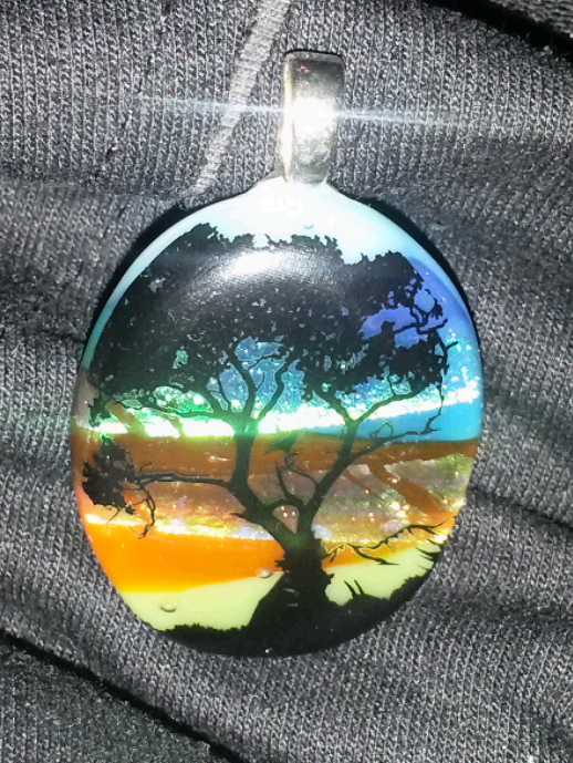 February 10th: fused glass pendant