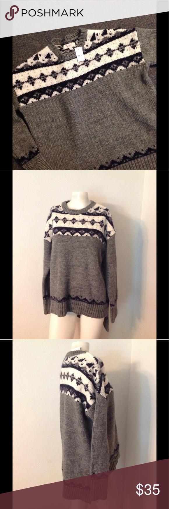 Ann Taylor Loft Fair Isle Sweater M Beautiful Loft sweater. Gray ...