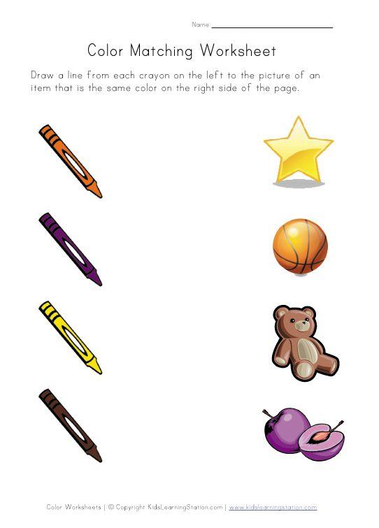 Colors Matching Worksheet Color Worksheets Color Matching Preschool Color Worksheets For Preschool Color matching activities for preschool