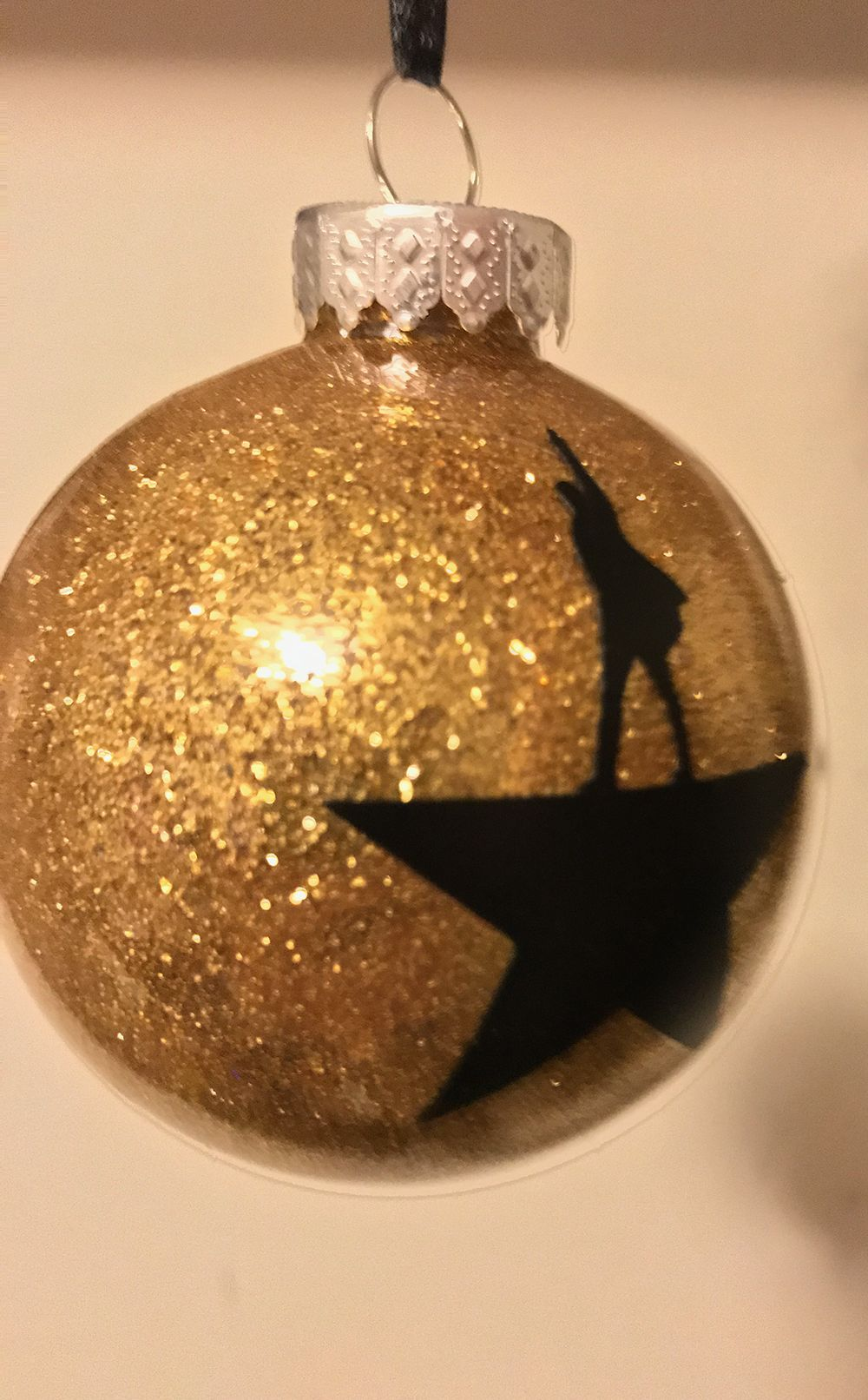 Hamilton inspired gold glitter ornament