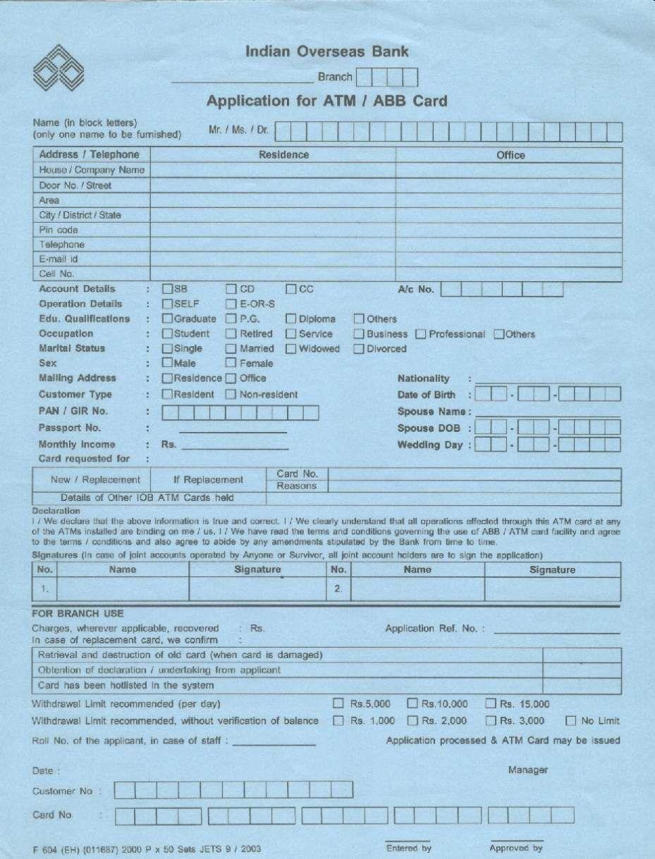 Indian overseas bank atm card application form 2015 2016 student indian overseas bank atm card application form 2015 2016 student forum altavistaventures Image collections