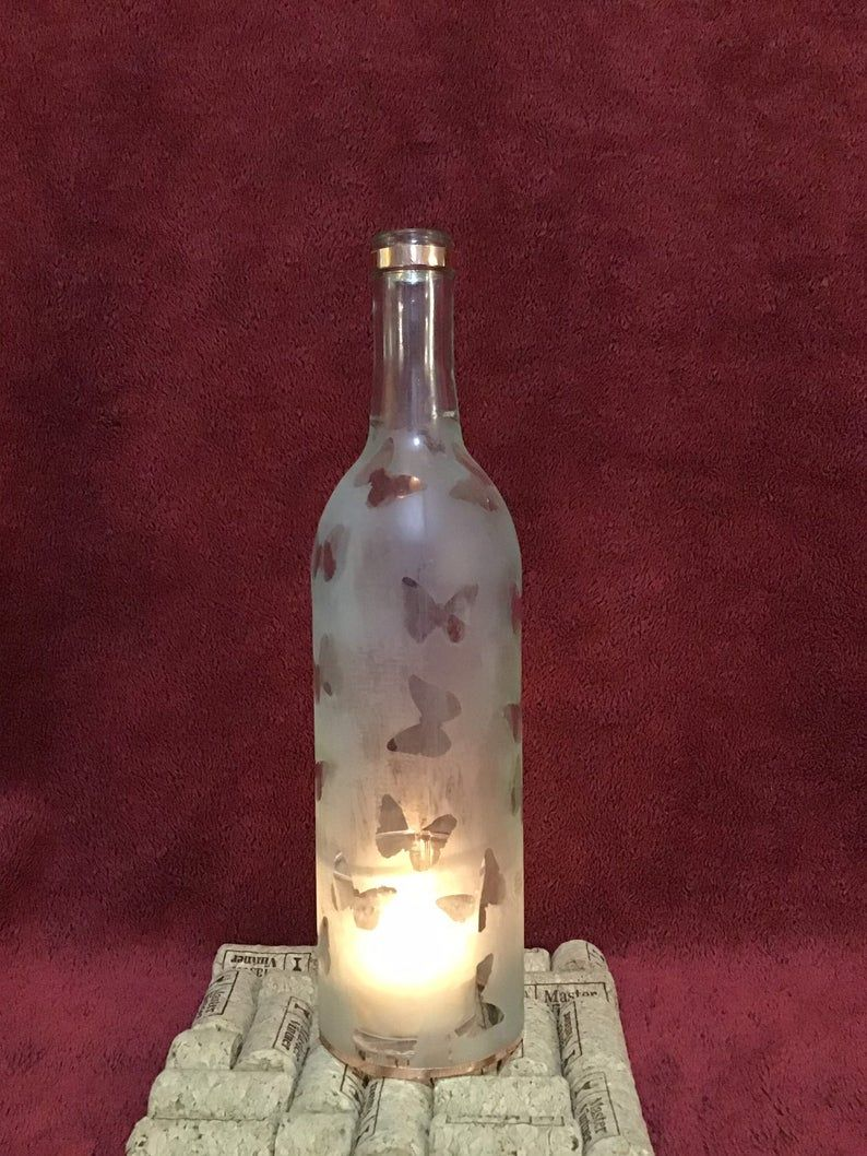 Butterfly Bottle Candle Holder Etsy In 2020 Bottle Candle Holder Bottle Candles Candle Holders