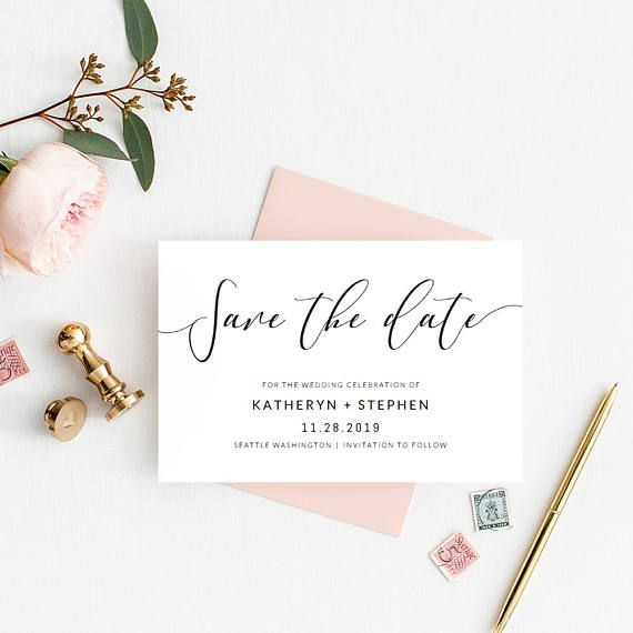 Wedding Save The Date Card Printable Template Modern Calligraphy Save The Date Calligraphy Save The Dates Wedding Saving Wedding Save The Dates