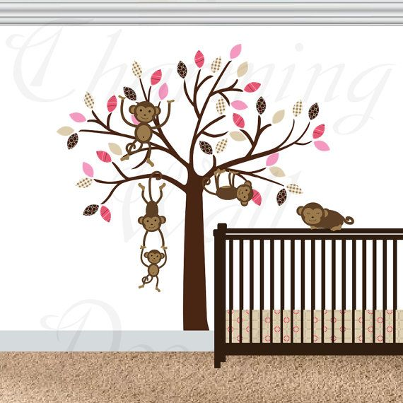 Monkey Wall Decals, Monkey Decals, Monkey Nursery, Swinging Monkeys, Hanging Monkeys, Girls Nursery Wall Decals, Vinyl Decals, Monkey Prints