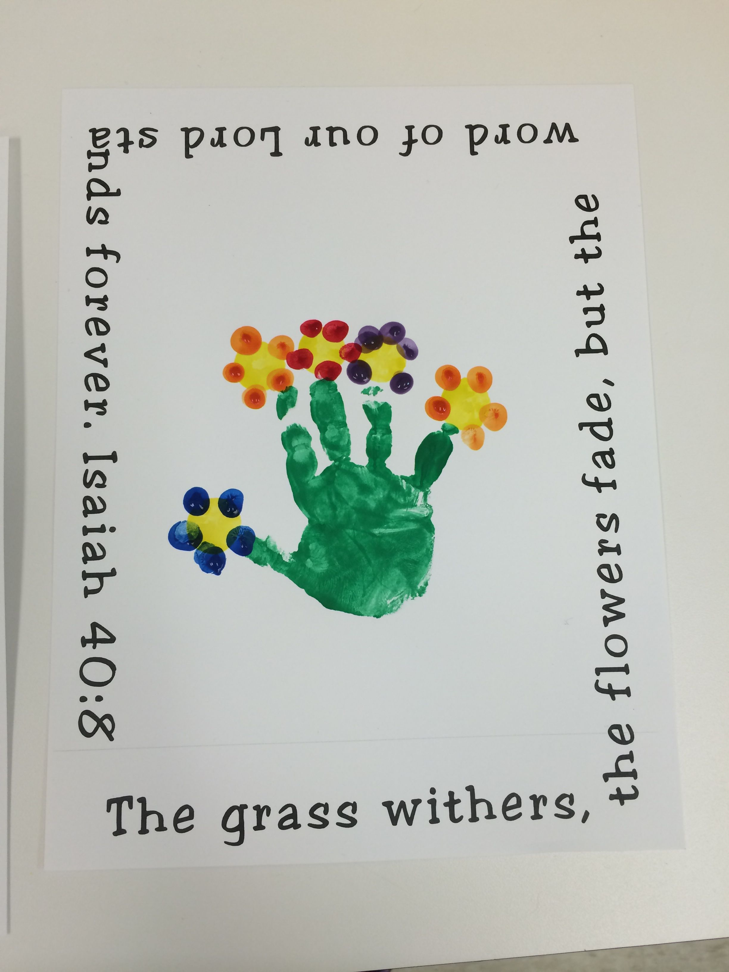 Flower Craft Handprint Isaiah 40 8