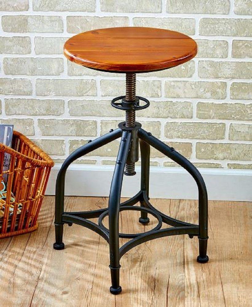Swell Retro Swivel Bar Stool Wood Seat Metal Frame Adjustable Evergreenethics Interior Chair Design Evergreenethicsorg