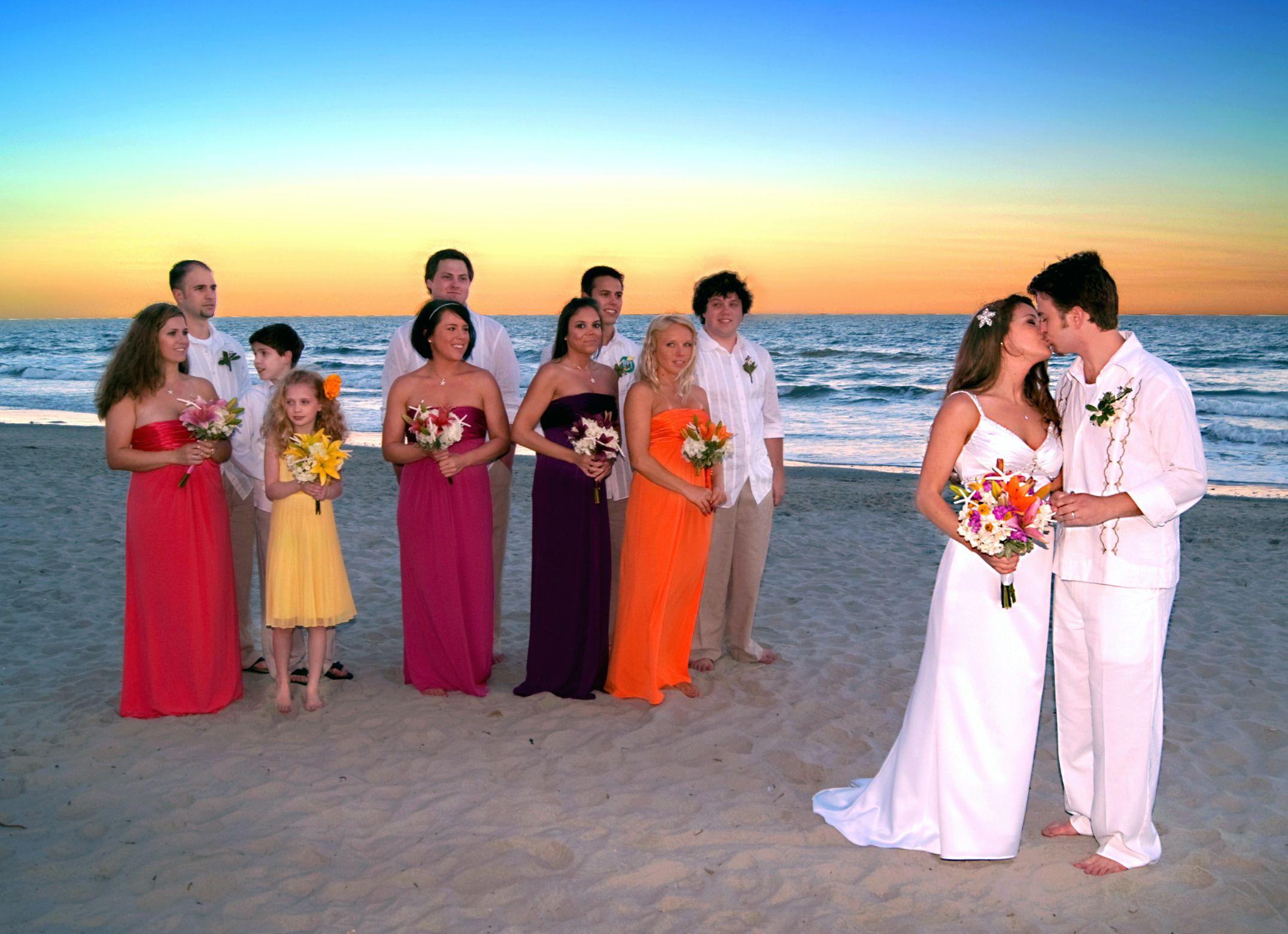 Beach wedding, bridal party, sunset colors Sunset beach