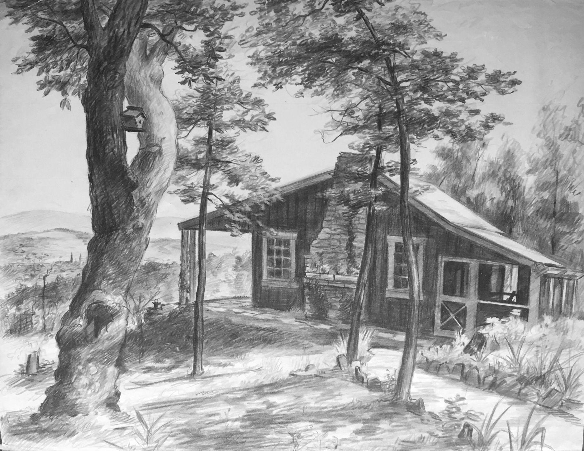 Original pencil drawing: Shryock family mountain cabin ...