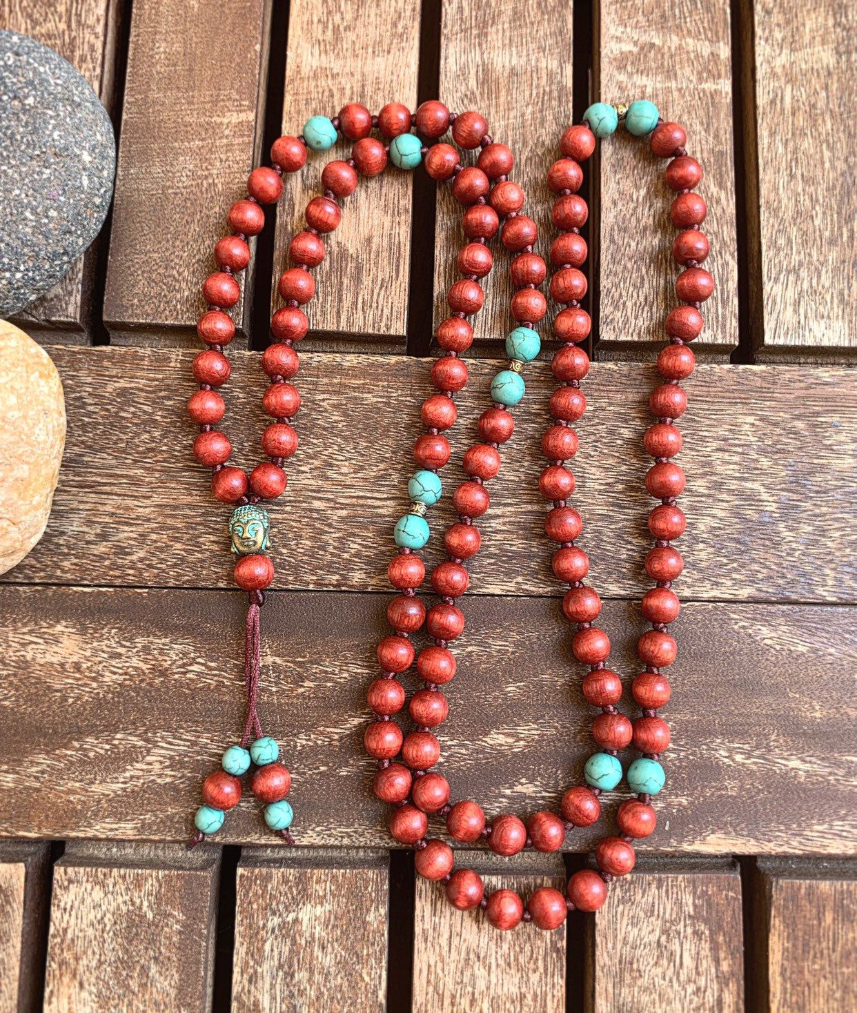 108 Bead Malawooden Necklacemala Necklacelong Beaded Etsy Mala Bead Necklace Mala Necklace Mala Beads