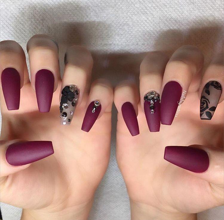 maroon / burgundy matte black diamonds nails | Nailz | Pinterest