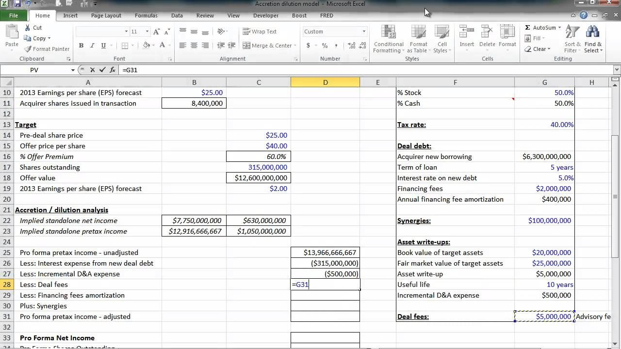 Financial Modeling Quick Lesson Accretion Dilution Model Part 2