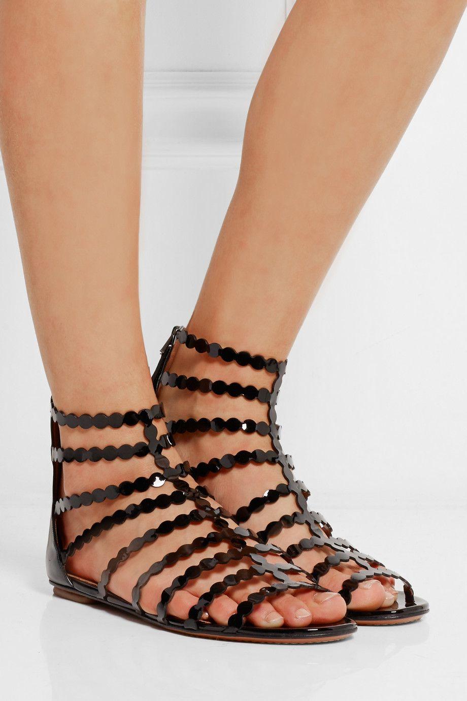 Alaïa Snakeskin-Trimmed Laser Cut Sandals cheap limited edition sale affordable nicekicks cheap price 6zjLzrw