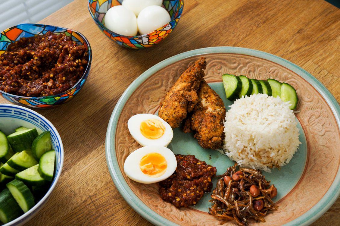 Chicken and/or fish nasi lemak https://tastingtales.com/2016/04/16/nasi-lemak/
