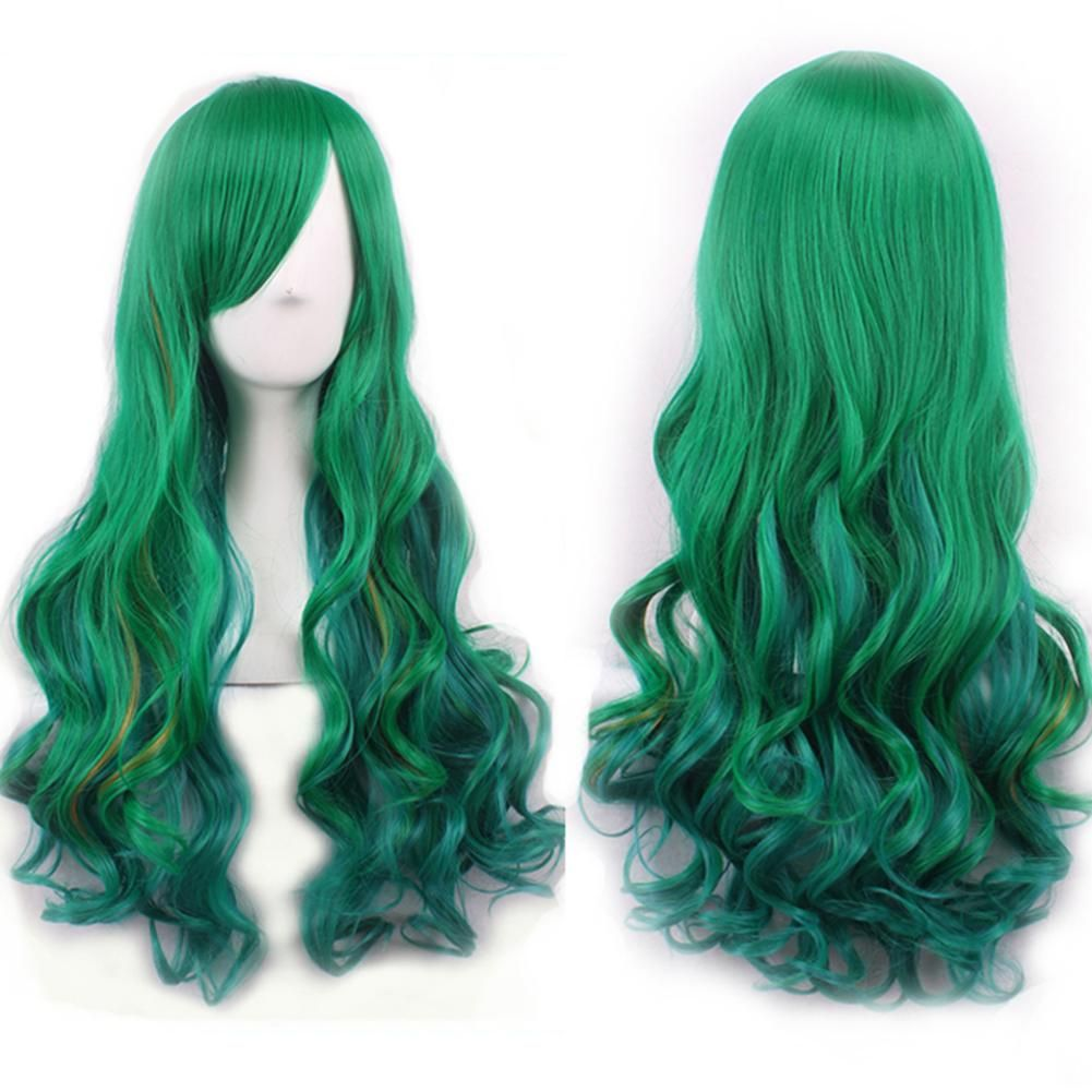 Photo of Natural Hairpiece Women Gradient Green Long Curly Wig Fluffy for Cosplay Party – M