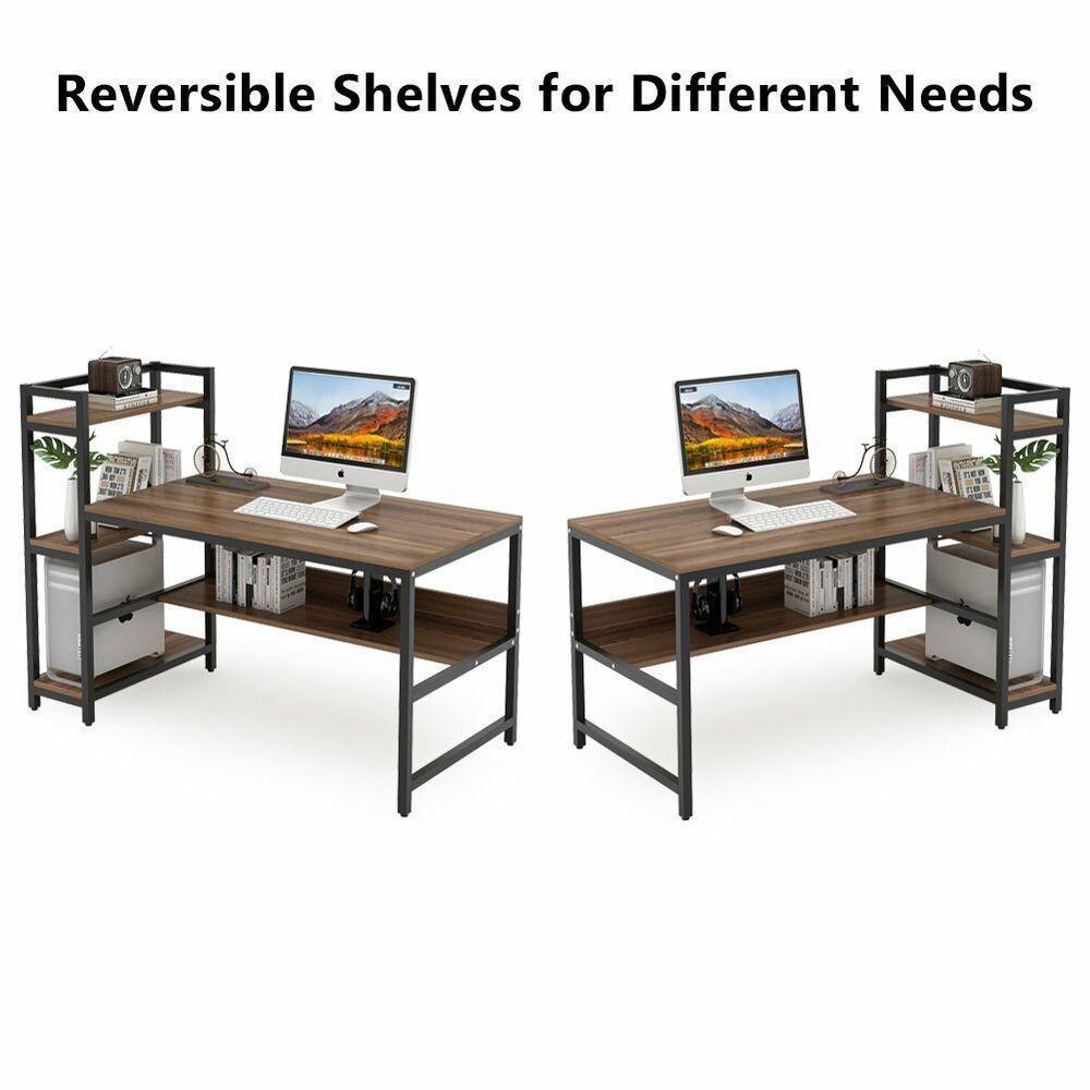 Office Deskorganization: 59''L Computer Desk With 4-Tier Storage Shelves Home