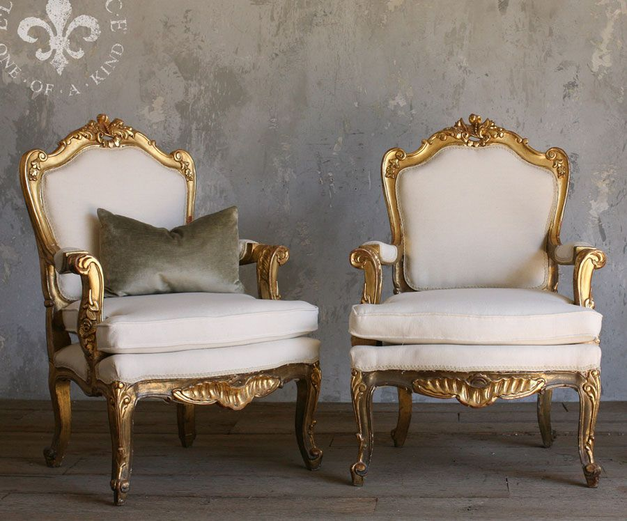 Vintage French Country Armchair Pair With Gold Frames, Circa 1940
