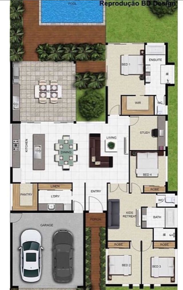 45X100 house floor plan with furniture layout