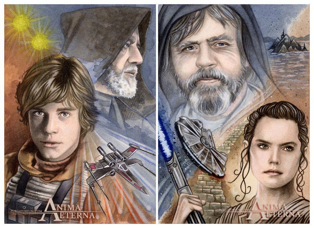 Star Wars Traditional Art - Painted with Watercolors & Pastel Pencils Luke Skywalker, Obi-Wan Kenobi & Rey (Mark Hamill, Sir Alec Guinness & Daisy Ridley)