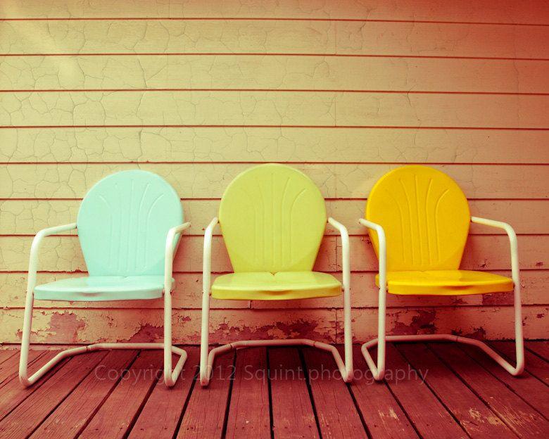 Vintage Patio Chairs   Fine Art Photograph   Summertime   Still Life    Pastel Colors