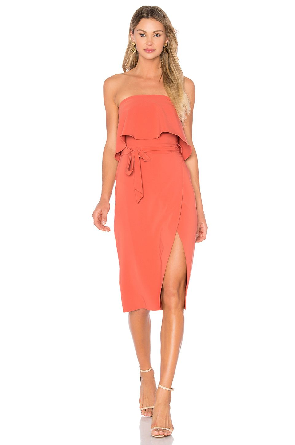 lovers  friends x revolve max midi dress in blood orange