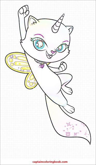 Rainbow butterfly unicorn kitty coloring page - Coloring ...