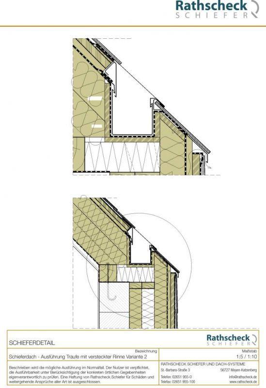 rathscheck schiefer schnitt durch ein monolithisch gestaltetes traufdetail mit versteckter. Black Bedroom Furniture Sets. Home Design Ideas