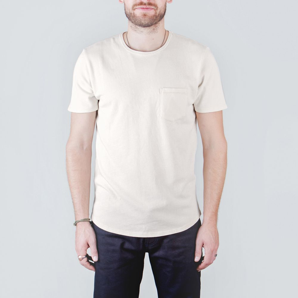 THE WEST IS DEAD - BASIC POCKET CURVED HEM OATMEAL