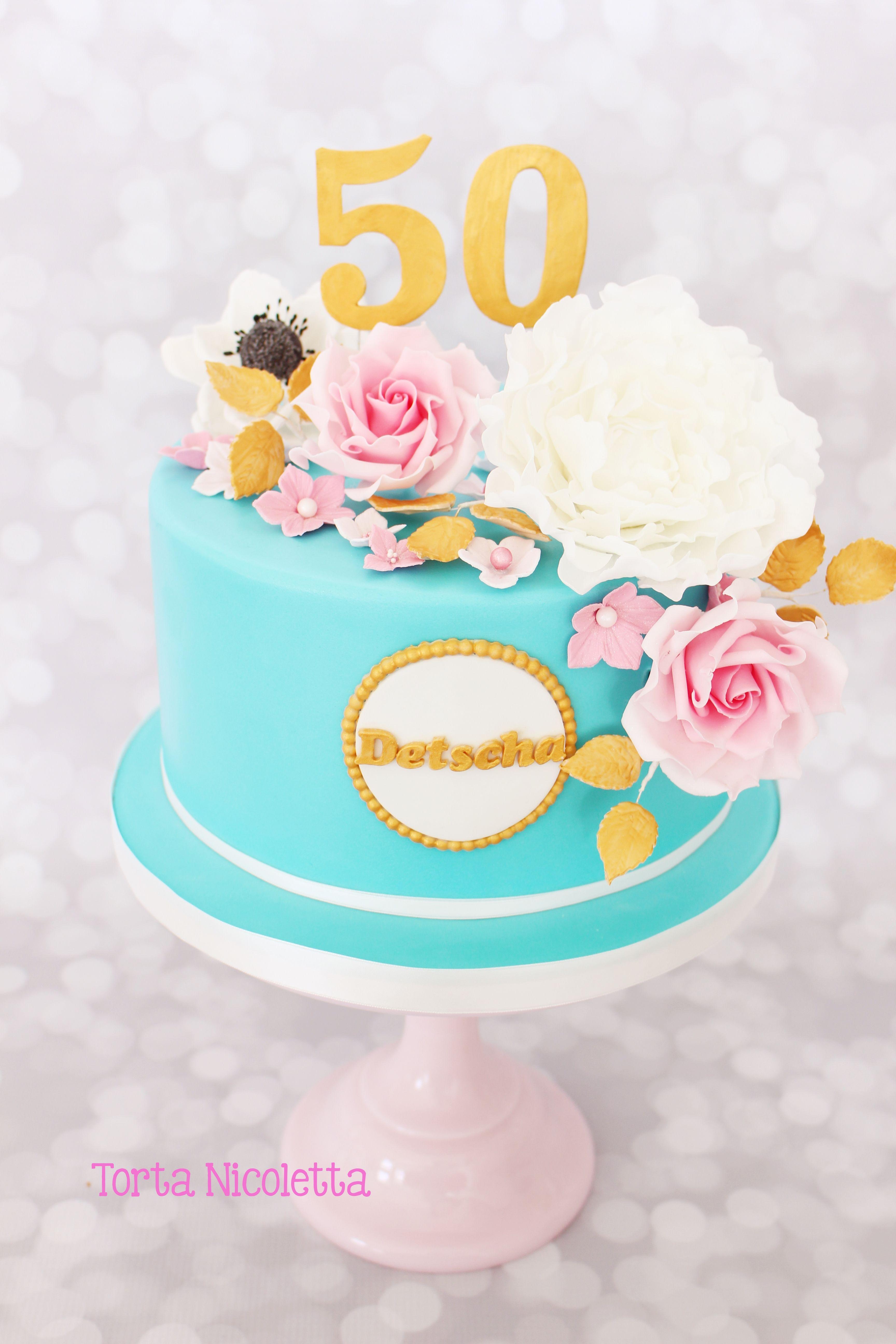 50th Birthday Flower Cake Flower Cakes Pinterest Cake