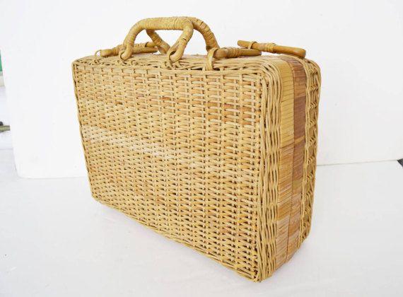 Bolso mimbre, bolsa de madera