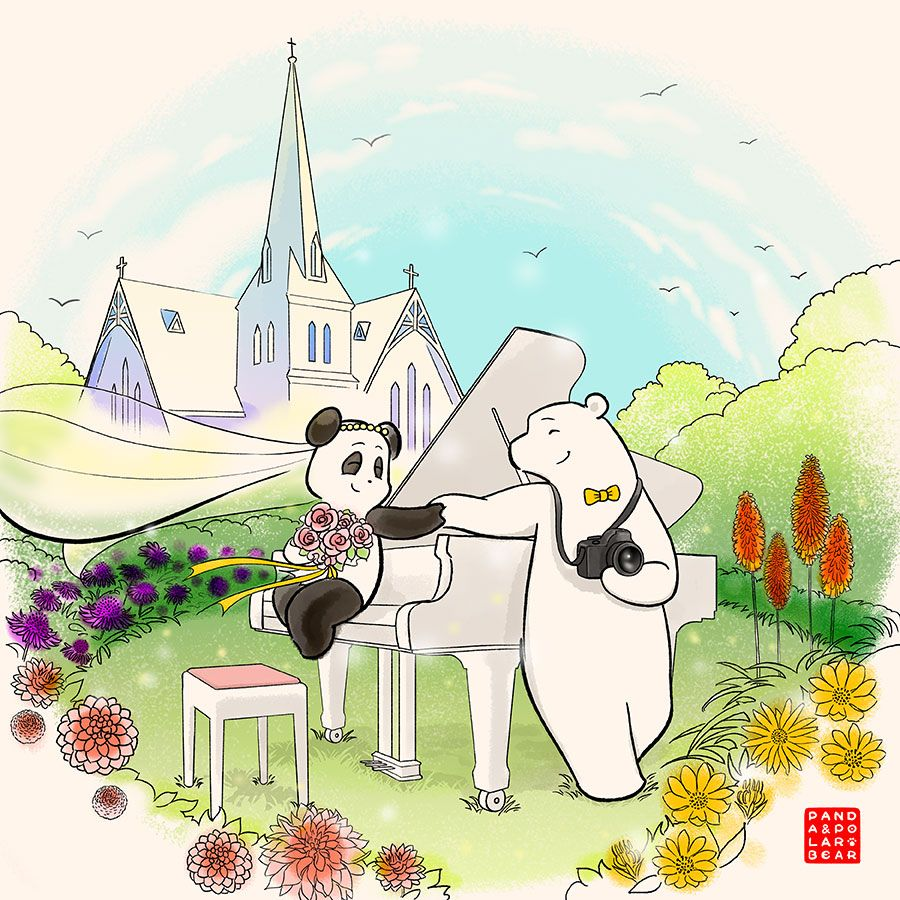Commission: Photographer Polar Bear And Pianist Pandas