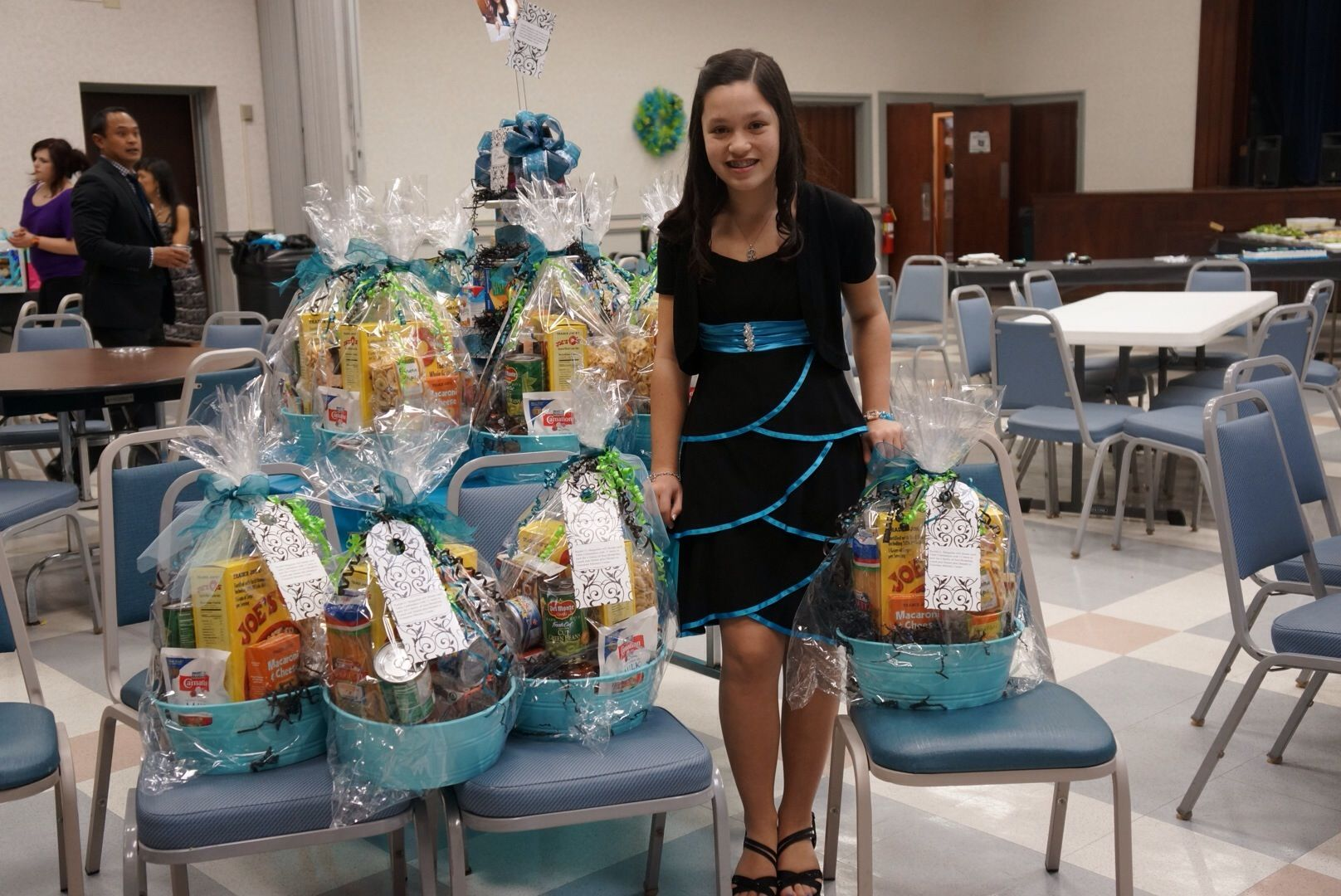 Bat mitzvah center pieces for charity gift basket with