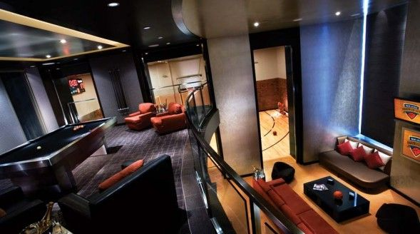 Hardwood Suite at Palms, see the half basketball court in the background? Yeah.