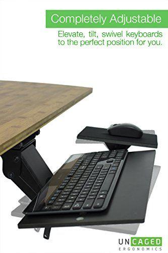 uncaged ergonomics ergonomic under desk keyboard tray with mouse pad rh pinterest co uk