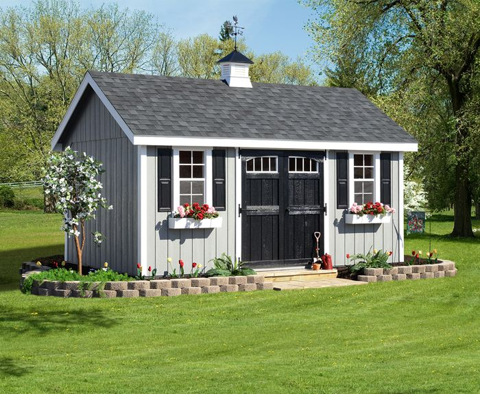 Elite A Frame 10 X 16 Light Gray T 111 Black Shingles White Trim Black Doors Backyard Sheds Building A Shed Shed Landscaping