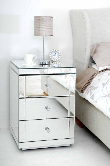Amazon.de: MY Furniture Verspiegelter Nachttisch Mit 3 Schubladen  LUCIA