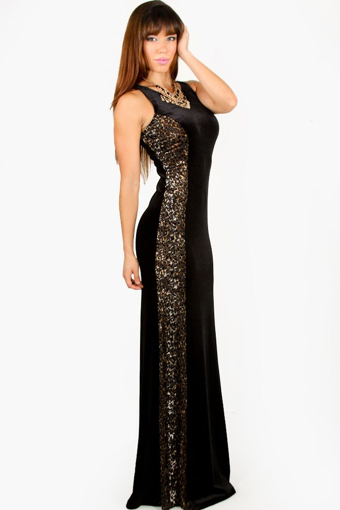 leopard evening gowns | Black Velvet Hourglass Illusion Leopard ...